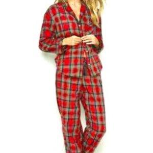 5297fa3c6c Two-piece plaid pajamas complete set size LARGE PJ